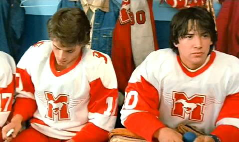 Keanu Reeves (right) in Youngblood, staring with Rob Lowe (left)