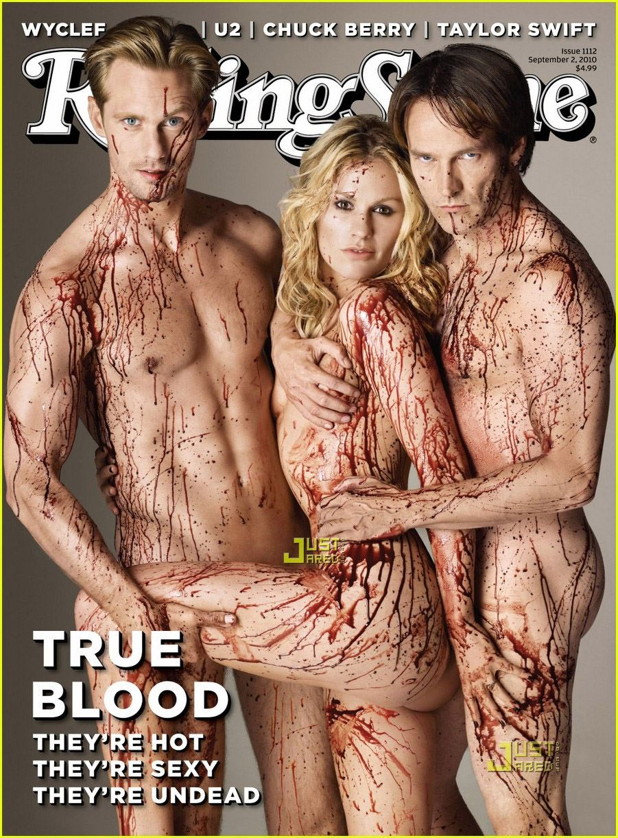 Rolling Stones cover with the 3 main stars of the series : Alexander Skarsgard, Anna Paquin, and Stephen Moyer.